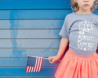 Patriotic Kids Shirt - Life Liberty and the Pursuit of Happiness - American Apparel Tri Blend History Tee Shirt - Kids T-shirt