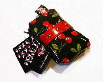 Cherry Coin Purse Vinyl Trim Zipper Bag Pin Up Rockabilly - MADE TO ORDER