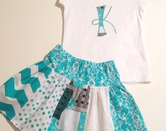 Initial Aqua Stripwork Skirt Set