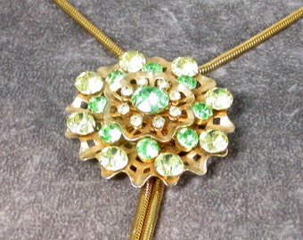 Vintage Bolo Tie with Green and Citrine Rhinestone Floral Center Piece, Artisan Made