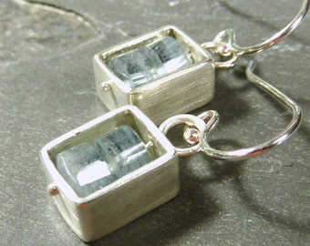 Emily Aquamarine Box Earrings- Ready to ship