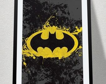 Batman Splatter Poster Print Superhero Kids Wall Art Decor Nursery Batman Comic Book Superheroes Super Hero