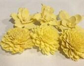 Yellow Sola Flowers-- Set of 6 Yellow Zinnia and Gardenia Balsa Flowers