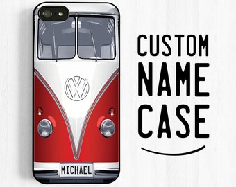 Volkswagen Bus iPhone 7 6 Case, Personalized First Name, Retro VW Van iPhone 6 Plus 5s 5c 5  Case, Samsung Galaxy s5 s4 s3, note 3 Case NP17
