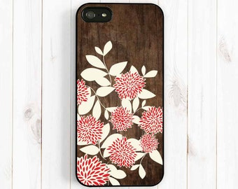 Red Dahlia iPhone Case, Printed Image Wood Samsung Galaxy S4 S5 Case, Samsung Note 3, iPhone 7 5C Case, iPhone 5S Case, iPhone 4S case NP28