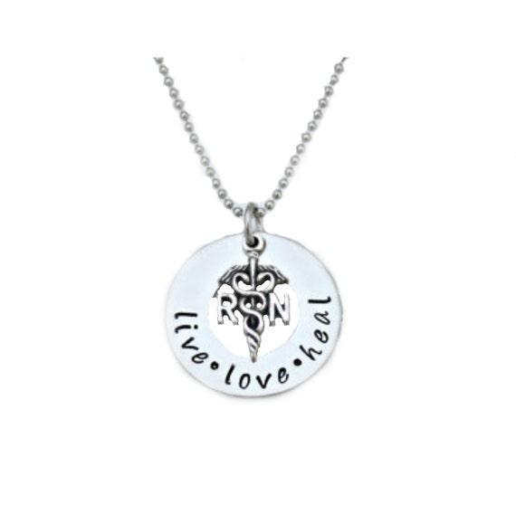 Nurses Week - Hand Stamped Jewelry / RN LPN necklace / Nurses / Nursing Student - Hand Stamped Stainless Steel Jewelry