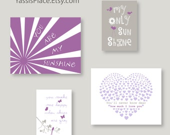 Purple and Gray CANVAS ART, Baby Girl Nursery Decor, Vivian nursery, You are my sunshine, Set of 4, Kids wall art by YassisPlace (ESH-002)