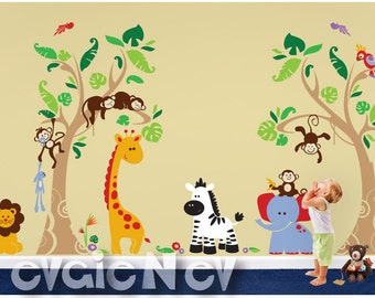 Terrific Tropical Heaven - Jungle Safari Wall Decals with Animals and Birds, Large Wall Stickers - PLJN060