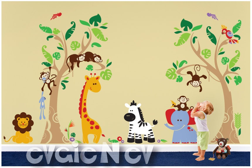 Jungle Safari Wall Decals Animals And Birds Tropical Heaven - Wall decals jungle
