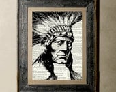 Buy 1 get 1 Free - Native Indian - Printed on a Vintage Dictionary, 8X10, dictionary art, paper art, illustration art, collage