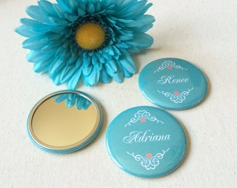 2.25 Inch Custom Pocket Mirrors. Set of 12. Bridesmaid Gifts. Wedding Favors. Party Favors. Guest Mementos.