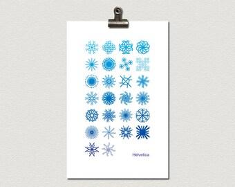 Helvetica Alphabet Snowflake Typography Art Poster 11 x 17 inches