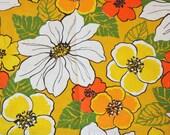 Vintage Cotton Printed Fabric, Yardage, Big Floral