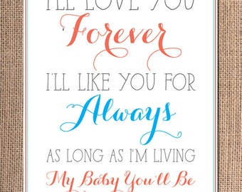 "Aqua and Coral Decor - ""I'll Love You Forever"" - Coral Aqua Nursery - Children's Wall Hanging"