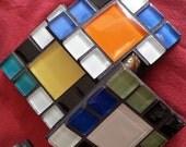 Multi-colored glass tile coasters