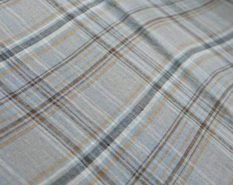 Pure  linen fabric with  blue checks-natural fabric-ecofriendly-soft