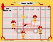 PRINTABLE Personalized Child Chore/Reward Firefighters - Jpeg PDF