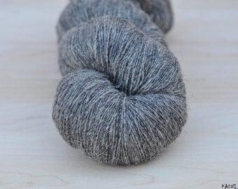 100% Wool Yarn, Grey , Fingering 1 ply, dk, Mega-Yardage