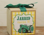 8 - Tractor Party Favor Boxes / Cupcake Boxes - Tractor Label -  kids party cupcake box, boys party favor box