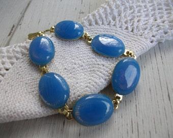 Vintage Chalcedony Blue Grey Glass Gold Bracelet Woodland Nature Inspired