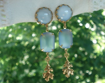 Vintage Light Blue Moonstone and Frosted Glass Gold Oak Leaf Clip Earrings