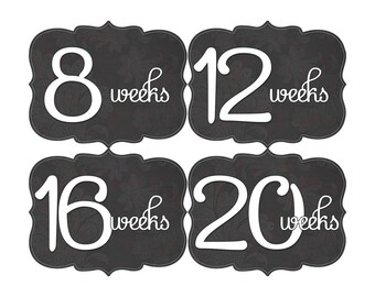 Pregnancy Reveal, Baby Announcement, Pregnancy Weekly Stickers, Pregnancy Gift, Belly Bump Stickers, Photo Prop, Black (GF012-P)