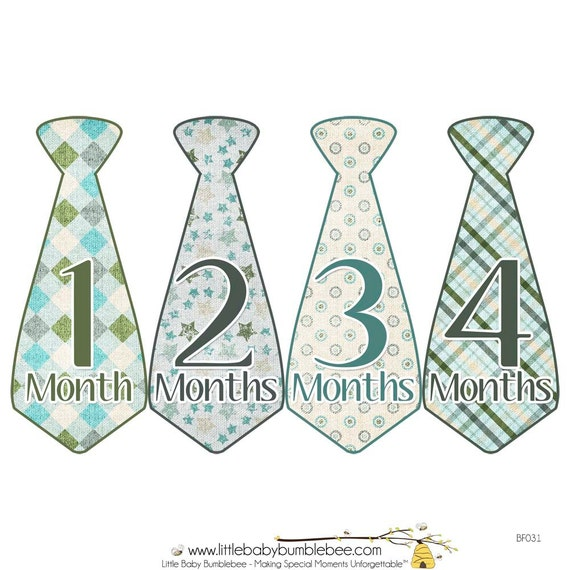 Monthly Boy Tie Stickers, Baby Announcement, Monthly Baby Stickers, Monthly Photos, Baby Gift, First Year Photo Prop, Blue Green (BF031)