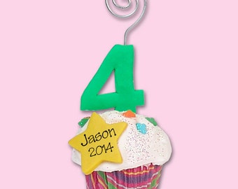 Birthday 4 Year Cupcake Personalized  Photo Holder / Place Card Holder - HANDMADE Polymer Clay