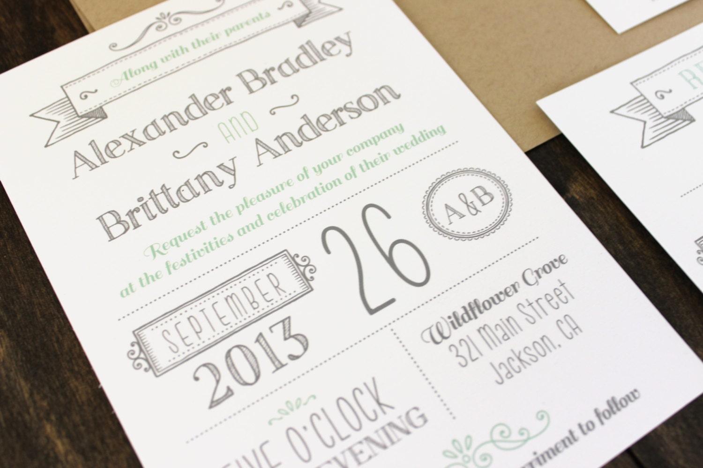 Customizable Wedding Invitation Templates: Printable Wedding Invitation. Modern Invitation Template