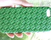New For IPHONE SE / Iphone 5 5s Green Leather Woven Cellphone Phone Case Cover Handmade