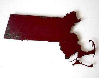 "Massachusetts 21.6"" wide map metal wall art - choose your color - MA map wall decor - USA map art state wall art - boston cape cod cambridge"
