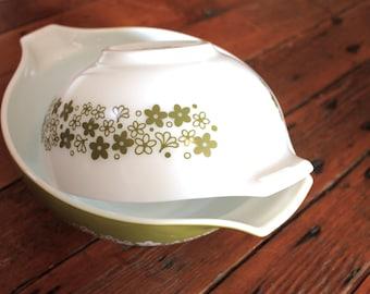 Dinner Time... Vintage Avocado Green Pyrex Cinderella Bowl Set, Kitchen Decor