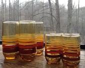 Vintage Sunset Striped Anchor Hocking Beverage Glasses Set of 8 Big & Small