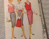 Vintage McCall's 5423 Tailored Shirt, Skirt, Reversible Vest Sewing Pattern 33 Bust