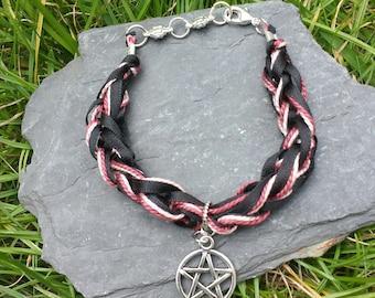 Handmade Lucet braided Pentagram, Star Bracelet,mala bracelet,textile style yoga,fibre, Druid,pink and black bracelet,boho,knitted bracelet