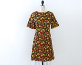 1960's Vintage Brown Flower Power Dress // Vintage Mod Dress // Brown Red Yellow Green Vintage Dress 60's - XS/S
