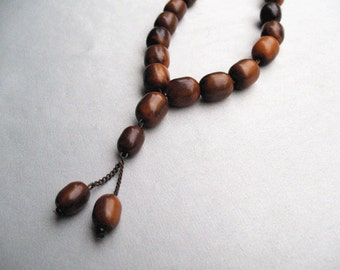 Vintage Butterscotch and Brown Bakelite Prayer Beads Mala on a Chain