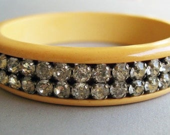 Fabulous 1930's Vintage Cream Butterscotch Yellow Bakelite Bangle with Rhinestones
