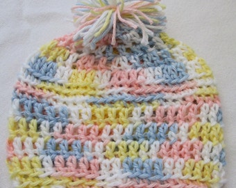 Hand Crocheted Infant or Baby Beanie Hat in Pink, Yellow, Blue and White