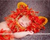 Newborn 0-3  3-6 months baby lion diaper cover bonnet crochet set Newborn photo props photography