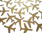 """25 Glittered Gold Airplane die cuts punch scrapbook embellishments - 1.5"""" airplanes - No541"""