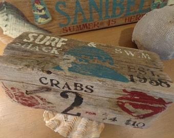 SALE 20% Beach Boardwalk Sign 4 SIDED Naturally Weathered Driftwood Created With Vintage Letterpress My ORIGINAL, Versatile  Ideas