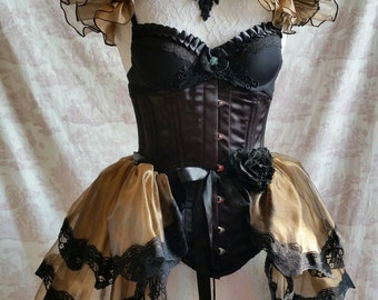 Sale Steampunk  Burlesque Bustle Skirt  and Shrug SET Costume Lolita  Ready to ship!