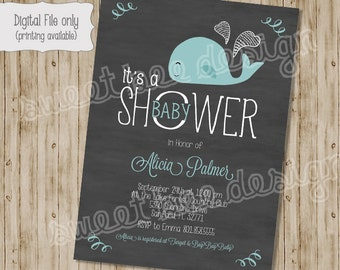 Whale Shower Invitation, Chalkboard Whale Baby Shower, Whale Baby Shower, Baby Boy Shower Invitation, Baby Girl Shower Invitation