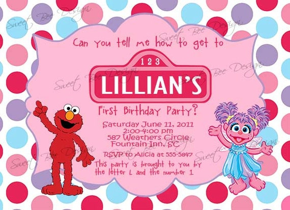 Abby Cadabby Birthday Invitation, Abby Cadabby Sesame Street Birthday Invitation, Abby Cadabby Birthday Party- Custom Printable