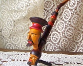 Vintage Pipe Two Headed Pipe Men's Pipe  Folk Art Tobacco Pipe Smoking Accessory Hippie Pipe Man Cave Vintage 70s