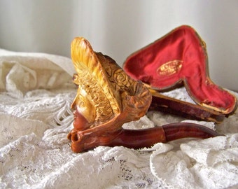 Antique Meerschaum Pipe Hand Carved Lady Figural Meerschaum Tobacco Pipe Smoking Accessory Meerschaum Lady With Bonnet Late 1800s