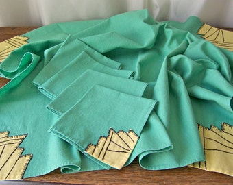 Vintage Mint Green Tablecloth Napkins Hand Stitched Spring Linen Tablecloth Tea Cloth Vintage Linen Shabby Cottage Decor 1940s