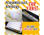 SIZE:A5 (Top Tabs/Special Set) Personalised Dividers Cute Kawaii Custom Made For Filofax