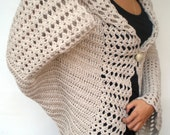 Natural Flower Fashion Oversized Shrug   Mixed Wool Sweater Woman Hand Crocheted Long Sleaves  Shrug Bolero NEW